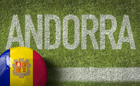 andorra: Text on soccer field: Andorra Stock Photo