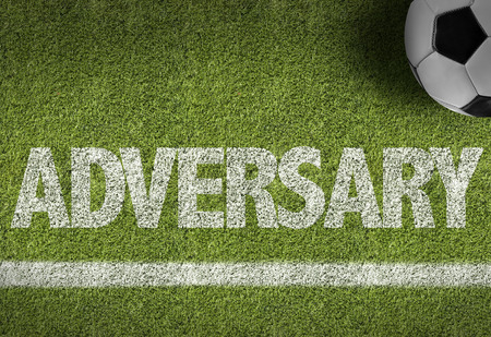 adversary: Text on soccer field: Adversary