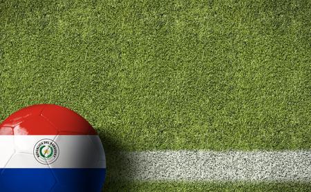 bandera de paraguay: Paraguay pabellón pelota en el fondo del campo de fútbol