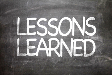 recap: Lessons learned written on blackboard Stock Photo