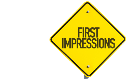 pioneering: First impressions sign on white background