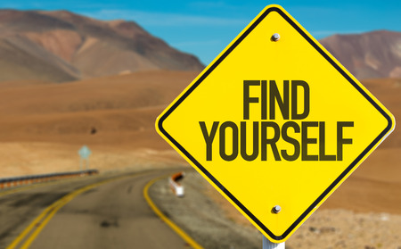 Find yourself sign with desert background