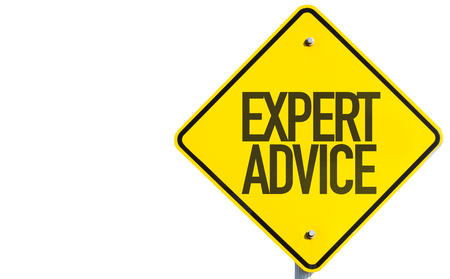 Expert advice sign on white background