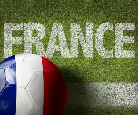 Text on soccer field: France