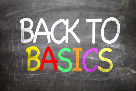 basics: Back to basics written on blackboard Stock Photo