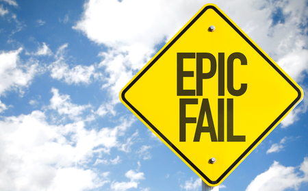 blunder: Epic fail sign with clouds and sky background