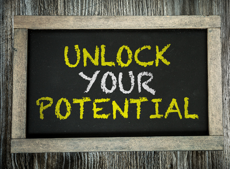potential: Unlock your potential written on blackboard