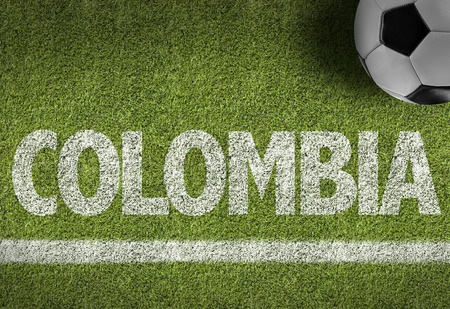 Text on soccer field: Colombia Stock Photo