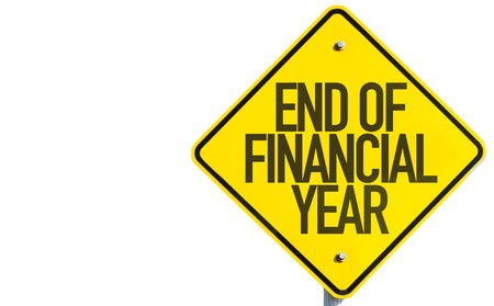 End of financial year sign on white background