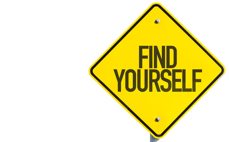 yourself: Find yourself sign on white background Stock Photo