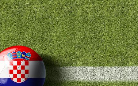 bandera de croacia: Croacia pabellón pelota en el fondo del campo de fútbol