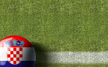 bandera croacia: Croatia flag ball on soccer field background