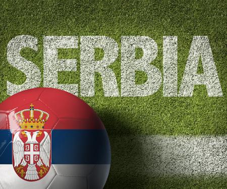 serbia: Text on soccer field: Serbia