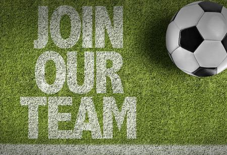 Tekst op voetbalveld: Word lid van ons team