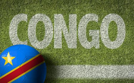Congo: Text on soccer field: Congo Stock Photo
