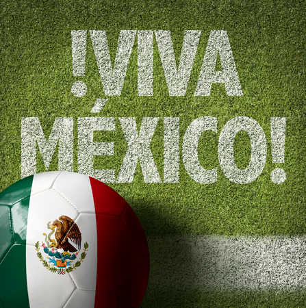 Text on soccer field: Viva Mexico Stockfoto