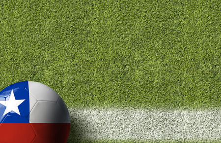 bandera de chile: Chile flag ball on soccer field background
