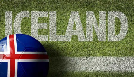 Text on soccer field: Iceland