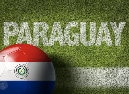 bandera de paraguay: Texto en campo de fútbol: Paraguay Foto de archivo