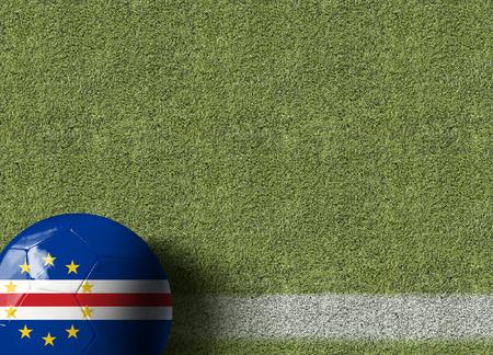 cape verde flag: Cape Verde flag ball on soccer field background