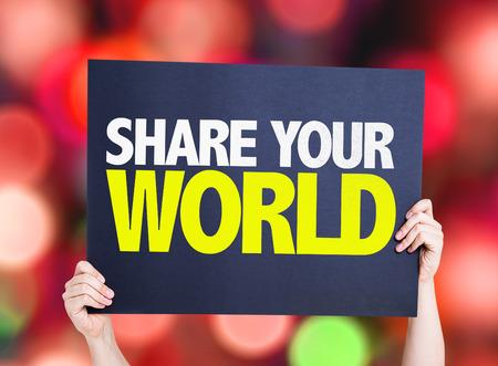 el mundo en tus manos: Manos celebración de cartón en el fondo bokeh con el texto: Comparte tu mundo