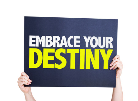 destiny: Hands holding cardboard on white background with text: Embrace your destiny Stock Photo