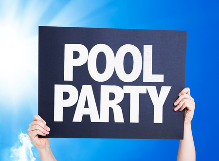 Hands holding cardboard on sky background with text: Pool party