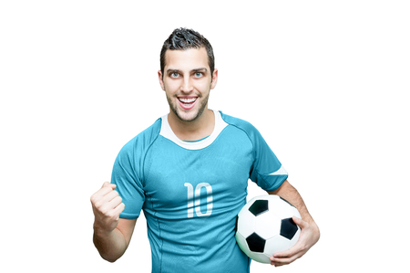 Soccer fan celebrates on white background