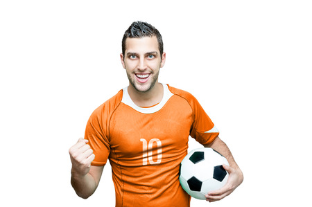 Dutch fan celebrates on white background