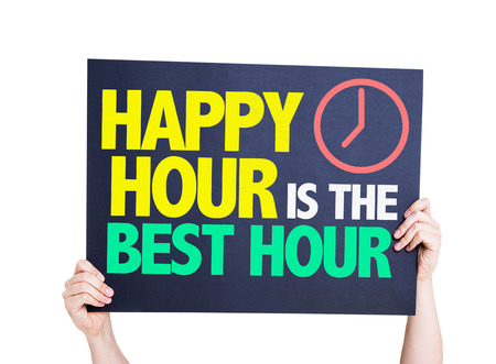 hands  hour: Hands holding cardboard on white background with text: Happy hour is the best hour