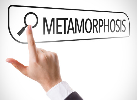 url virtual: Hand searching online on white background with text: Metamorphosis