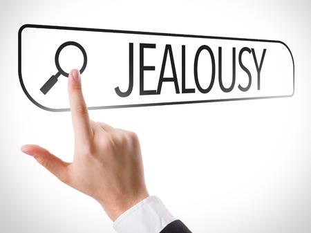 celos: Búsquedas manuales en línea en el fondo blanco con el texto: Los celos