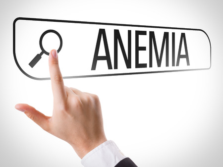 anemia: Hand searching online on white background with text: Anemia