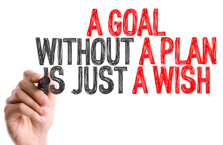 Handwriting on white background with text: A goal without a plan is just a wish Stock Photo