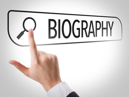 doctoral: Hand searching online on white background with text: Biography