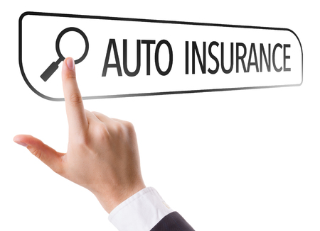 collisions: Hand searching online on white background with text: Auto insurance