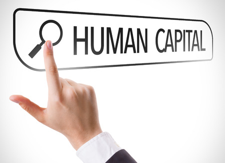 human capital: Hand searching online on white background with text: Human capital
