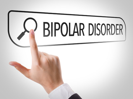 url virtual: Hand searching online on white background with text: Bipolar disorder