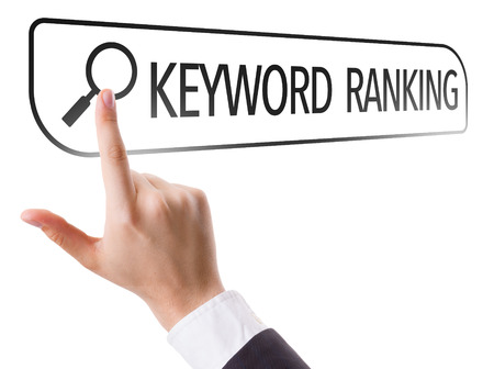 Hand searching online on white background with text: Keyword ranking