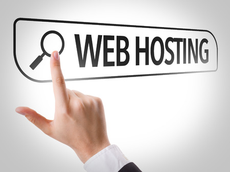 url virtual: Hand searching online on white background with text: Web hosting