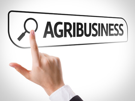 agribusiness: Hand searching online on white background with text: Agribusiness