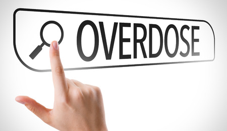 overdose: Hand searching online on white background with text: Overdose