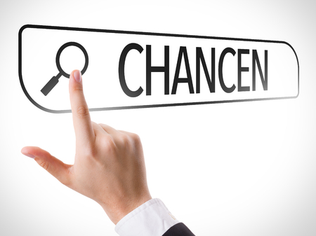 the prospects: Hand searching online on white background with text: Chancen (prospects in German)