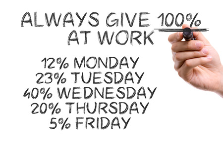 thursday: Handwriting on white background with text: Always give 100% at work