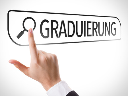 url virtual: Hand searching online on white background with text: Graduierung (graduation in German)