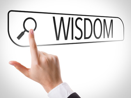 common sense: Hand searching online on white background with text: Wisdom
