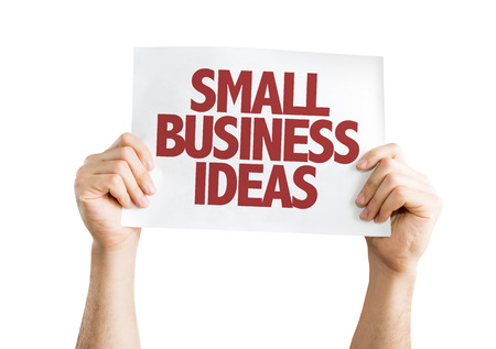 Hands holding cardboard on white background with text: Small business ideas