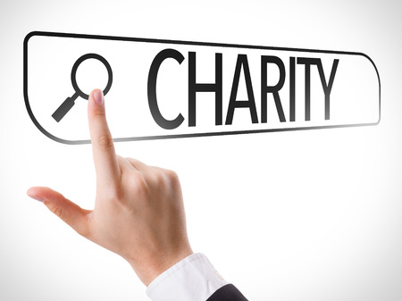 virtual assistant: Hand searching online on white background with text: Charity