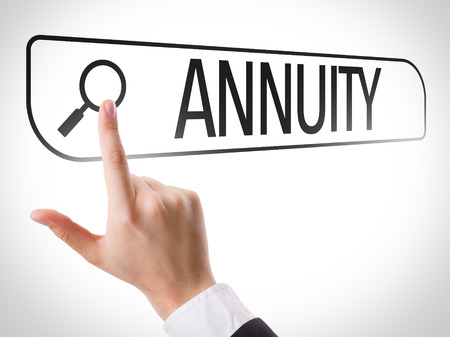 fixed rate: Hand searching online on white background with text: Annuity