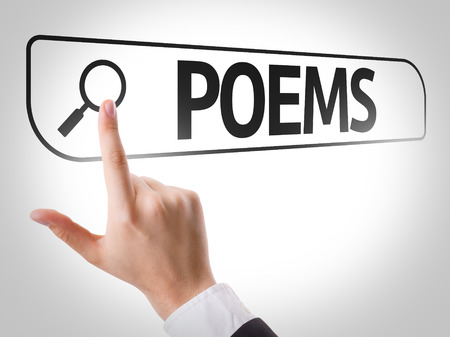 poems: Hand searching online on white background with text: Poems